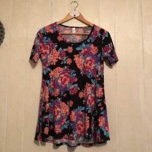 LuLaRoe Perfect T Black w/Floral Print XXS